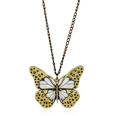 Fancy Butterfly Pendant Sweater Chain WHITE