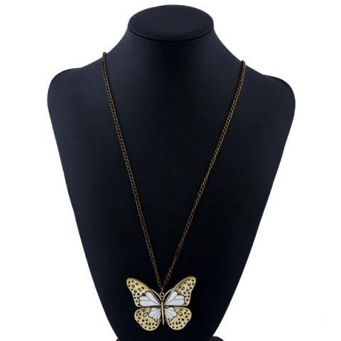 Trendy Butterfly Pendant Sweater Chain - WHITE  Mobile