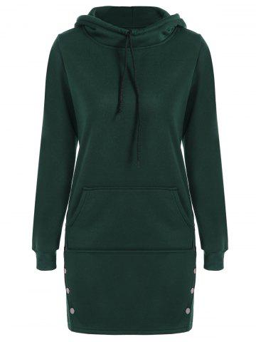 Buy Kangaroo Pocket Button Long Hoodie - S BLACKISH GREEN Mobile