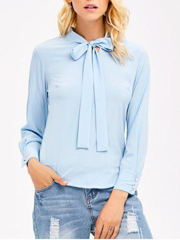 Buy Pussy Bow Tie Long Sleeves Blouse LIGHT BLUE XL