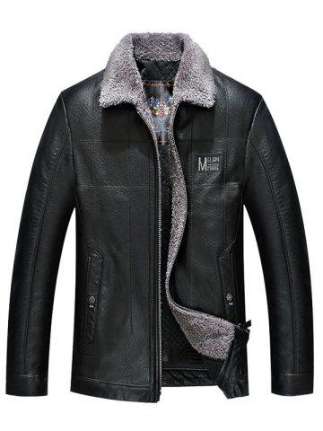 Turndown Collar Zip Up Patch PU Leather Jacket