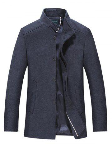 Stand Collar Button Up Wool Blend Coat