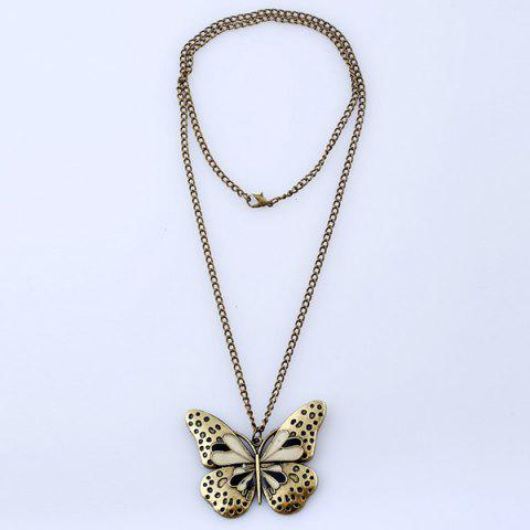 Latest Butterfly Pendant Sweater Chain - BLACK  Mobile