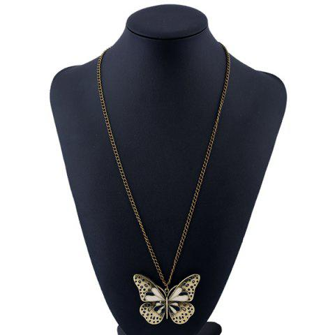 Online Butterfly Pendant Sweater Chain - BLACK  Mobile