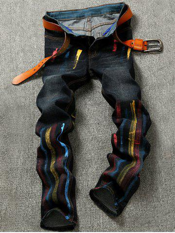 Colorful Striped Pocket Zipper Fly Jeans - Black - 28