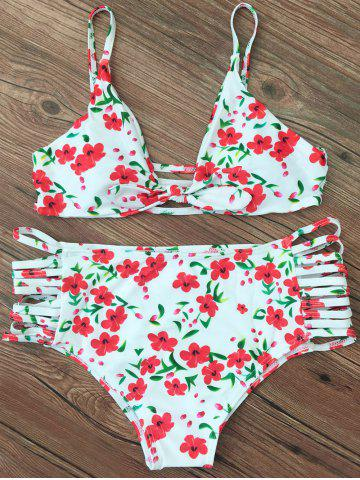 Hot Cami Floral Strappy Bikini Set WHITE XL