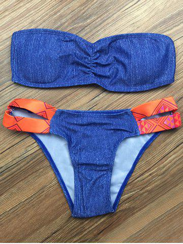 Affordable Strapless Cut Out Printed Bikini Set - L BLUE Mobile