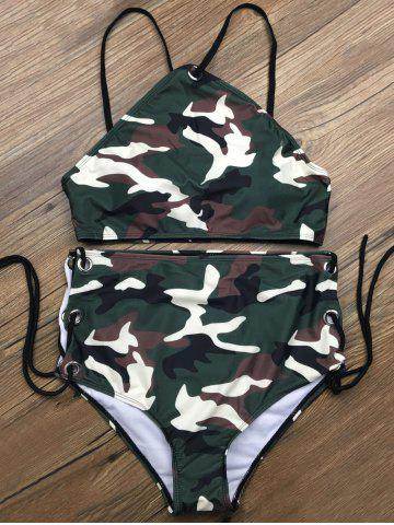 Fancy Lace Up Camouflage Two Piece High Waisted Bikini - S CAMOUFLAGE COLOR Mobile
