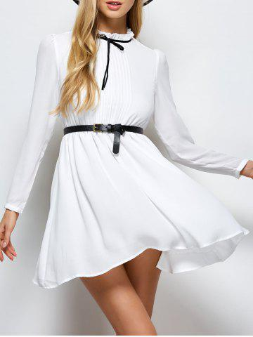 Store Ruff Collar Pleated Belted Chiffon Dress