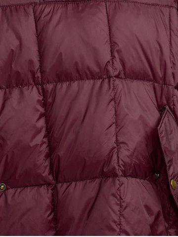 Buy Hooded High-Low Oversized Down Coat - S WINE RED Mobile