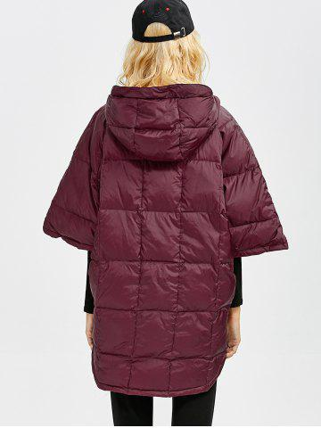 Chic Hooded High-Low Oversized Down Coat - S WINE RED Mobile