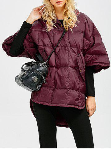 Best Hooded High-Low Oversized Down Coat - S WINE RED Mobile