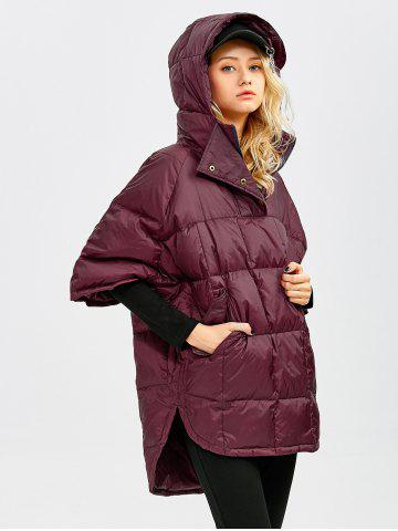 Shops Hooded High-Low Oversized Down Coat - S WINE RED Mobile