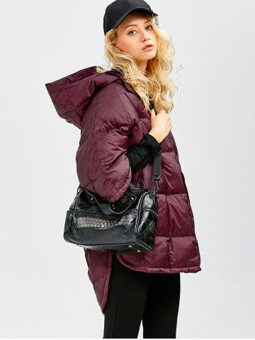 Sale Hooded High-Low Oversized Down Coat - S WINE RED Mobile