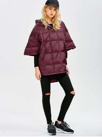 Latest Hooded High-Low Oversized Down Coat - S WINE RED Mobile