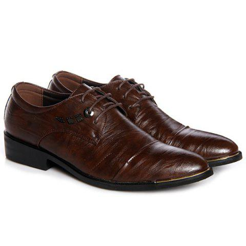 Latest Metal PU Leather Lace Up Formal Shoes - 40 DEEP BROWN Mobile