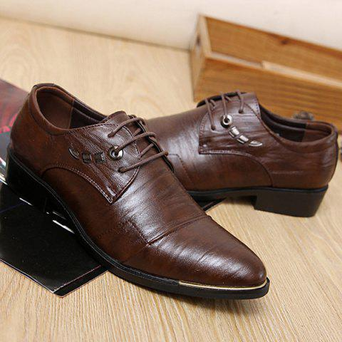 New Metal PU Leather Lace Up Formal Shoes - 40 DEEP BROWN Mobile