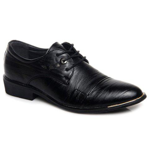 Latest Metal PU Leather Lace Up Formal Shoes - 43 BLACK Mobile