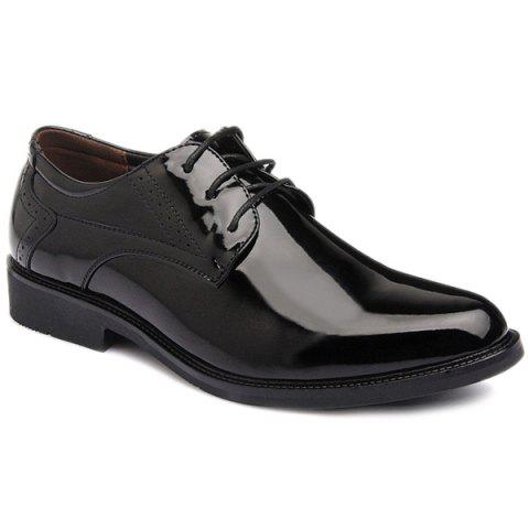 Fashion Patent Leather Engraving Lace Up Formal Shoes BLACK 43