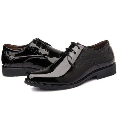 Fashion Patent Leather Engraving Lace Up Formal Shoes - 44 BLACK Mobile