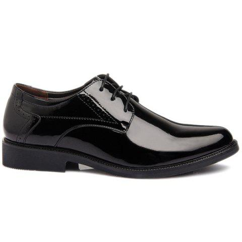 Cheap Patent Leather Engraving Lace Up Formal Shoes - 44 BLACK Mobile