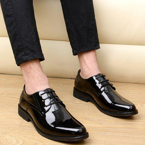 Chic Patent Leather Engraving Lace Up Formal Shoes - 44 BLACK Mobile