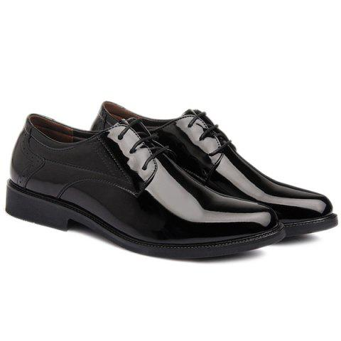 Hot Patent Leather Engraving Lace Up Formal Shoes - 44 BLACK Mobile