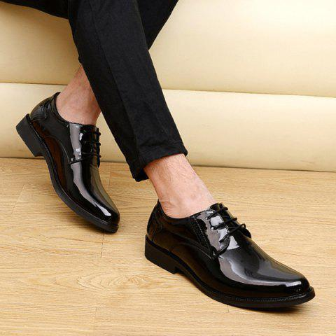 Discount Patent Leather Engraving Lace Up Formal Shoes - 44 BLACK Mobile