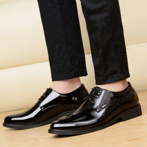 Sale Patent Leather Engraving Lace Up Formal Shoes - 44 BLACK Mobile