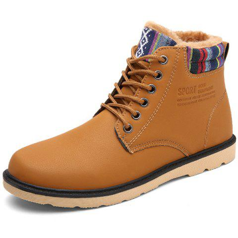 Online Tie Up Striped Pattern PU Leather Boots LIGHT BROWN 43
