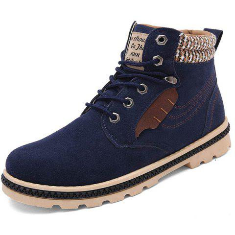 Trendy Colour Block Tie Up Stitching Boots