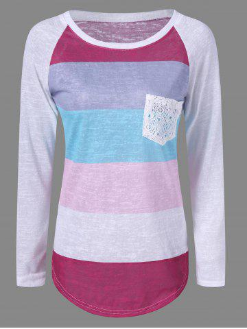 Best Pocket Color Block Raglan Sleeve T-Shirt GRAY XL