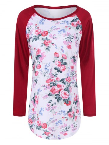 Trendy Floral Printed Raglan Sleeve Baseball T-Shirt RED XL