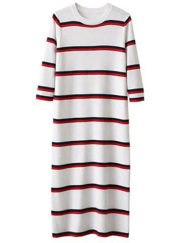 Shops Crew Neck Striped Long Knitted Jumper Dress