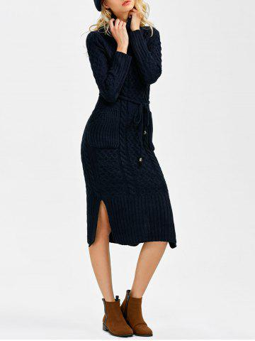 Turtleneck Cable Knit Sweater Dress With Pockets - Deep Blue - One Size
