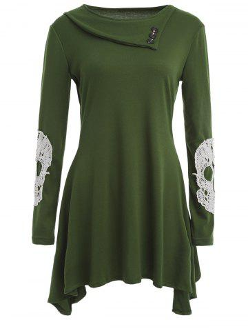 Outfits Side Collar Long Sleeve Skull Appliqued T-Shirt ARMY GREEN XL