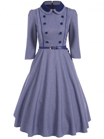 Cheap Double Breasted A Line Vintage Dress STONE BLUE XL