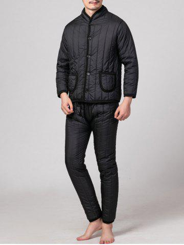 Stand Collar Button Up Pocket Padded Jacket Twinset