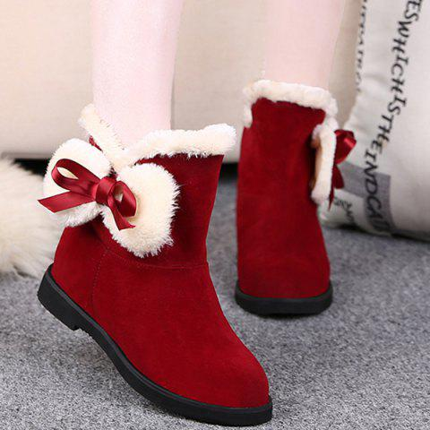 Discount Fuzzy Bowknot Short Boots RED 39