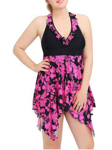 Halter Asymmetric Floral Skirted Tankini Swimsuit - ROSE RED 6XL