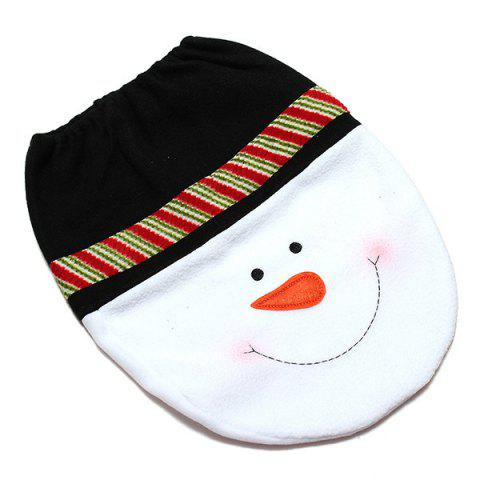 New Christmas Supplies Snowman Bathroom Toilet Closestool Floor Mats - WHITE AND GREEN  Mobile