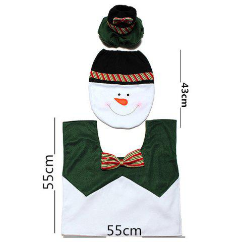 Buy Christmas Supplies Snowman Bathroom Toilet Closestool Floor Mats - WHITE AND GREEN  Mobile