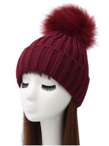 Pom Ball Flanging Knitted Beanie - WINE RED