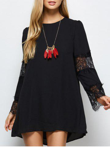 Shop Round Neck Lace Panel Shift Dress BLACK 2XL