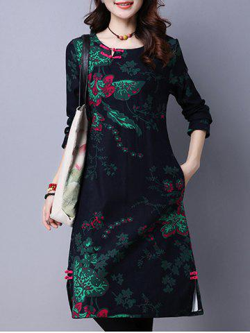 Fancy Floral Print Fleece Lined Midi Dress DEEP BLUE XL