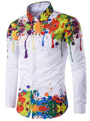 Unique Colorful Splatter Paint Pattern Turndown Collar Long Sleeve Shirt WHITE 2XL