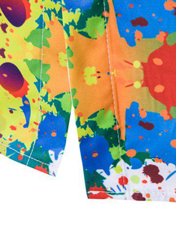 New Colorful Splatter Paint Pattern Turndown Collar Long Sleeve Shirt - XL WHITE Mobile