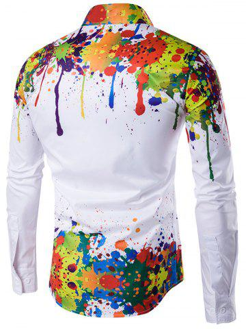 Shops Colorful Splatter Paint Pattern Turndown Collar Long Sleeve Shirt - XL WHITE Mobile