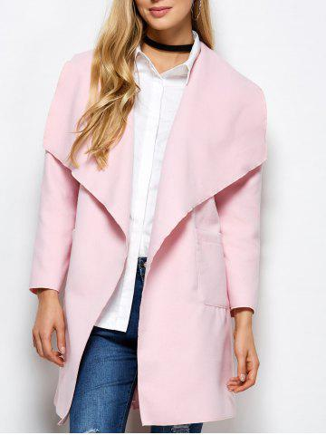 Chic Woolen Long Wrap Coat With Pockets PINK XL