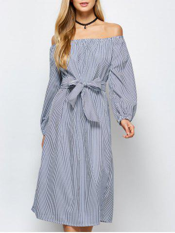 Sale Midi Off Shoulder Stripe Casual Dress - S STRIPE Mobile